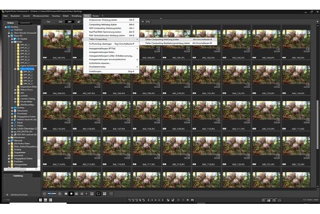 """Bild Um Fotos einer Fokus-Aufnahmereihe in DPP zu verrechnen, müssen zunächst die entsprechenden Bilder ausgewählt werden, bevor die Funktion unter """"Extras"""" aktiviert werden kann. [Foto: Medianord]"""