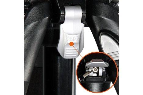 Bild Der Fixierhebel erlaubt es, die Mittelsäule des Abeo Pro 283 CT unabhängig vom Stativkopf zu drehen. [Foto: Vanguard]