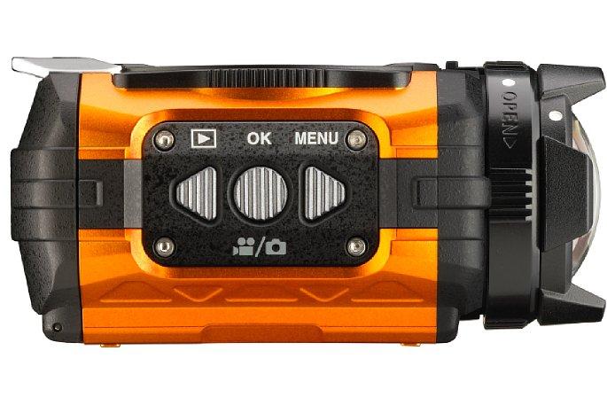 Bild Menüsteuerung und Foto/Video-Umschaltung an der rechten Seite der Ricoh WG-M1. [Foto: Ricoh]