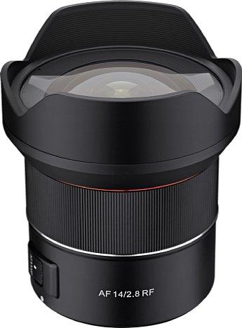 Bild Das Samyang AF 14 mm F2.8 RF hat eine fest verbaute Streulichtblende. Dank des 37 x 35 mm großen Folienfilterhalters am Bajonett lassen sich dennoch Filter verwenden. [Foto: Samyang]