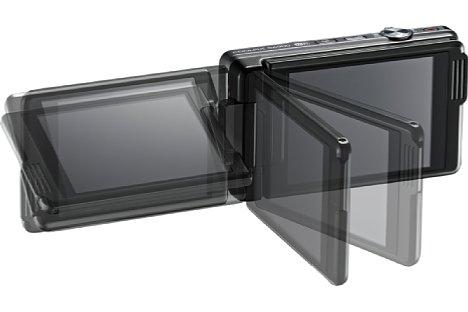 Bild Der Monitor der Nikon Coolpix S6900 lässt sich drehen und schwenken. [Foto: Nikon]