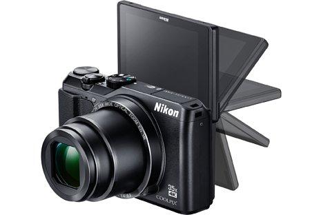 Bild Der 7,5-cm-Bildschirm der Nikon Coolpix A900 löst mit 921.000 Bildpunkten sehr fein auf, lässt sich im Gegensatz zum Vorgängermodell S9900 aber nur noch klappen und nicht mehr schwenken und drehen. [Foto: Nikon]