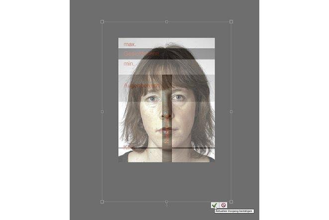 Bild Mit der überlagerten Ebene der Schablone kann das Bild ausgerichtet und skaliert werden. Es ist aber drauf zu achten, dass das Bild nicht verzerrt wird. [Foto: Markt+Technik]