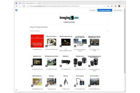 Bild Die Canon Schulungsvideos werden über den Cloud-Dienst Dropbox zum Anschauen und Herunterladen angeboten; Dropbox bietet auch eine schnelle Download-Möglichkeit mit einem Klick direkt aus der E-Mail mit den Zugangsdaten. [Foto: Imaging One]