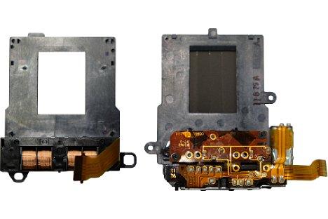 Bild Der neue elektromagnetisch gesteuerte Verschluss der Panasonic Lumix DMC-GX80 (links) arbeitet sehr leise und vibrationsarm, ganz im Gegensatz zur alten Mechanik mit starken Spannfedern und elektrischer Steuerung, wie sie rechts zu sehen ist. [Foto: MediaNord]