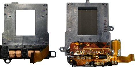 Bild Während der neue elektromagnetisch gesteuerte Verschluss der Panasonic Lumix DMC-GX80 (links) sehr leise und vibrationsarm arbeitet, kommt beim Verschluss der GX8 noch die alte Mechanik mit starken Spannfedern und elektrischer Steuerung zum Einsatz. [Foto: MediaNord]