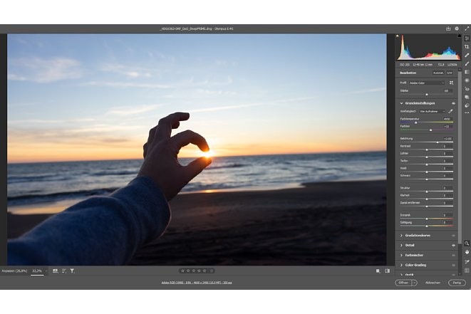 Bild Wird die Belichtungskorrektur verändert so werden alle Pixel des Bildes gleichermaßen von den Änderungen geändert. Erst mit dem antasten der Lichter, Schwarz und Weißregler beziehungsweise der Gradationskurve ändert sich dieses Verhalten. [Foto: MediaNord]