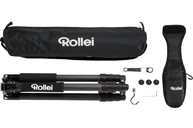 Bild Zum Lieferumfang desRollei C6i Carbon gehört eine Tasche, ein Werkzeug, Ersatzgummifüsse sowie eine Gürtelhalterung und einen Taschenhaken zum einschrauben. [Foto: Rollei]