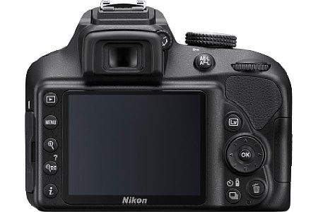 Bild Der 7,5 Zentimeter große Monitor ermöglicht der Nikon D3400 eine Live-View-Funktion samt Gesichtserkennung und Vidoaufnahme in Full-HD. [Foto: Nikon]