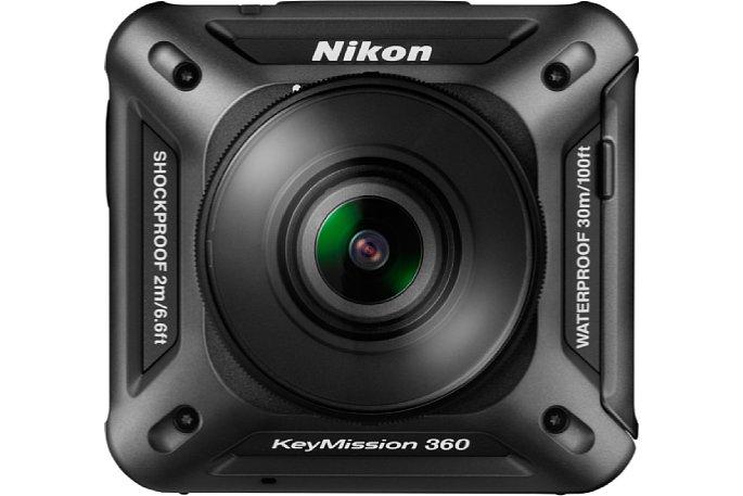 Bild Nikon KeyMission 360: Die Front unterscheidet sich praktisch nur durch die Beschriftung von der Rückseite. [Foto: Nikon]