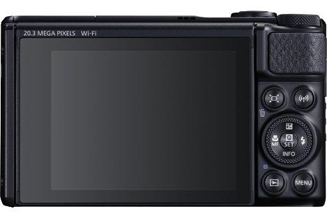 Bild Der 7,5 Zentimeter große Bildschirm der Canon PowerShot SX740 HS lässt sich für Selfies um 180 Grad nach oben klappen. [Foto: Canon]