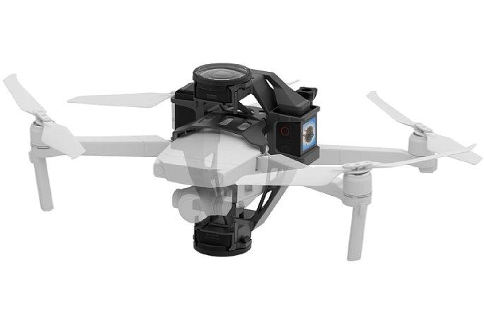 Bild Der Aerial Mod soll die Insta360 One R in Verbindung mit einer DJI Mavic 2 Drohne zu einer fliegenden 360-Grad-Kamera machen. [Foto: Insta360]