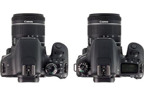 Bild Im direkten Vergleich der Kameras ist der Unterschied zwischen der EOS 800D (links) mit der EOS 77D (rechts) sichtbar. [Foto: MediaNord]