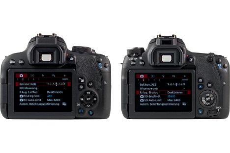 Bild Beide Kameras im direkten Vergleicht (EOS 800D links und EOS 77D rechts). [Foto: MediaNord]