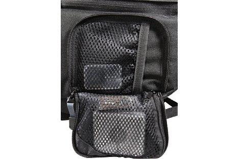 Bild Die Außentaschen stellen je zwei Netztaschen zur Verfügung: eine mit Gummizug und eine mit Reißverschluss. [Foto: Daniela Schmid]