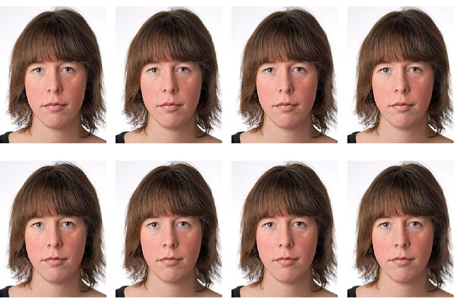 Bild Photoshop Elements legt daraufhin eine neue Bilddatei an und füllt sie mit der gewünschten Anzahl an Einzelpassbildern. [Foto: Markt+Technik]