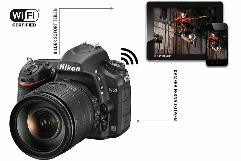 Bild Dank integriertem WiFi lassen sich die aufgenommenen Fotos sofort teilen, ebenso ist eine Fernsteuerung der Nikon D750 möglich. [Foto: Ray Demski]