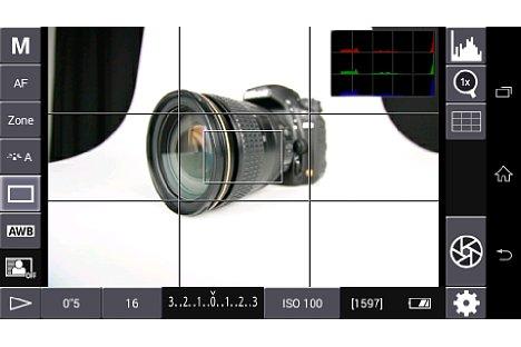 Bild Neben dem Live-Bild von der Canon können auch die Kameraparameter verändert werden. Die App wirkt dabei nicht zu überladen. Das Histogramm kann ausgeblendet werden. Der Auslöser unten rechts ist sinnvoller Weise großzügig dimensioniert. [Foto: MediaNord]