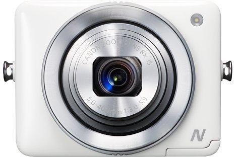 Bild Die Canon PowerShot N Facebook ready Edition kommt ohne Handgriff aus, die Bedienung von Auslöser und Zoom erfolgt mittels Ringen am Objektiv. [Foto: Canon]