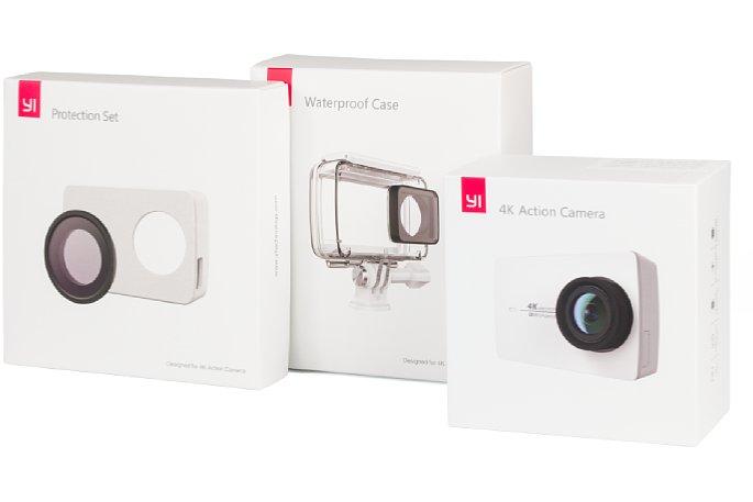 Bild Yi 4K Actioncam, Protection Set und Waterproof Case Produktverpackungen. Im Gegensatz zu den meisten anderen Actioncams musst du bei den Kameras von Yi Technology sämtliches Zubehör extra kaufen. [Foto: MediaNord]