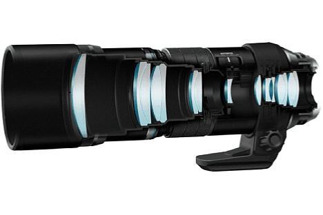 Bild Die optisch aufwändige Konstruktion des Olympus M.Zuiko Digital ED 300 mm 1:4.0 IS Pro besteht aus 17 Linsen, die in zehn Gruppen angeordnet sind. Darunter befinden sich ED- und asphärische Glaselemente. [Foto: Olympus]