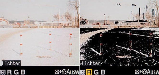 Bild Links das normale Bild, rechts eines, bei dem die hellen Stellen schwarz aufblinken. [Foto: Sam Jost]