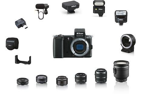 Bild Mit der Nikon 1 V2 System wurde auch das Systemzubehör-Angebot weiter ausgebaut. [Foto: Nikon]