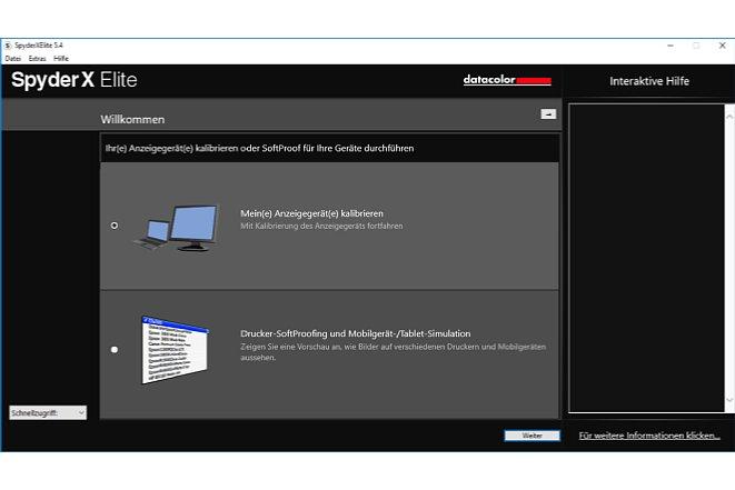 Bild Die ersten Schritte in der SpyderX Software sind für Einsteiger und Experten gleich. [Foto: MediaNord]