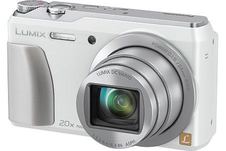 Bild ... sowie in Weiß angeboten werden. Zwar steht der Preis der Panasonic Lumix DMC-TZ56 noch nicht fest, wohl aber der Markteinführungstermin Anfang März 2014. [Foto: Panasonic]