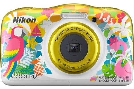 """Bild """"Hawaii"""" ist eine neue """"Farbvariante"""" der Nikon Coolpix W150, auch wenn die abgebildeten Tiere gar nicht auf der Pazifikinsel heimisch sind. [Foto: Nikon]"""