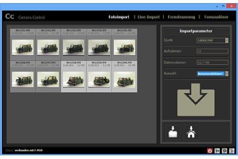 Bild Über den Fotoimport von Camera Control lassen sich beliebige Fotos in Raw und JPEG sowie Filme auswählen und auf den Rechner übertragen. [Foto: MediaNord]