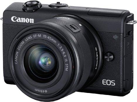 Bild Die neue Einsteiger-DSLM Canon EOS M200, hier mit dem Setobjektiv EF-M 15-45 mm, ist äußerst kompakt und leicht. [Foto: Canon]