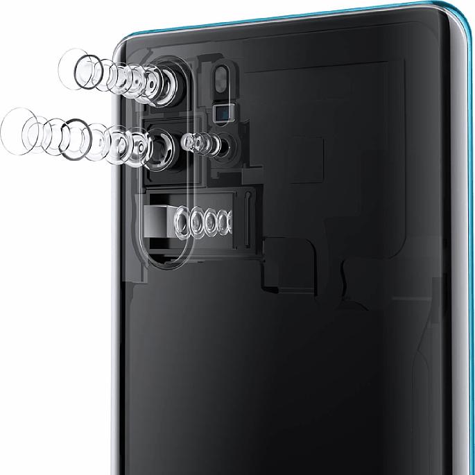 Bild Drei Kameramodule, die untere über ein Prisma quer im Gehäuse eingebaut, sowie eine TOF-Kamera für die Tiefeninformation bilden die 4-fach-Kameraeinheit des Huawei P30 Pro. [Foto: Huawei]