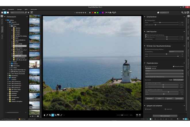 Bild Die Arbeitsfläche von AfterShot 3 ist aufgeräumt und bietet neben der Katalogsuche auch einen Verzeichnisbaum des Computers. [Foto: Medianord]