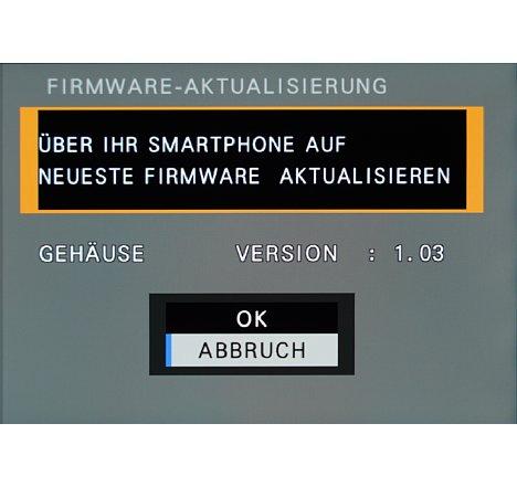 Bild Die Übertragung der neuen Firmware muss man an der empfangenden Kamera bestätigen. [Foto: MediaNord]