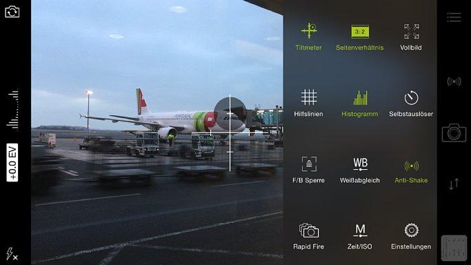 Bild Grün heißt eingeschaltet bzw. angewählt. Im Menü von ProCamera 8 siehst du auf einen Blick, welche Einstellungen gerade aktiv ist. Du musst dich durch keine Pull-Down-Menüs hangeln. [Foto: MediaNord]