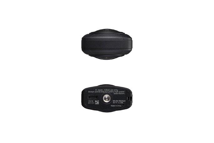 Bild Die Oberseite der Ricoh Theta Z1 ist sehr unauffällig. Auf der Unterseite befinden sich das Stativgewinde sowie die USB-C-Buchse, über die die Kamera ausgelesen, aufgeladen oder auch dauerhaft mit Strom versorgt werden kann. [Foto: Ricoh]