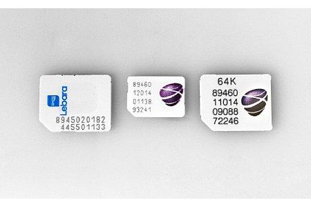 Bild Eine Nano-SIM-Karte (Mitte) ist nicht immer vorrätig. Am meisten Verbreitet sind immer noch die Micro-SIM-Karten (links und rechts). [Foto: MediaNord]