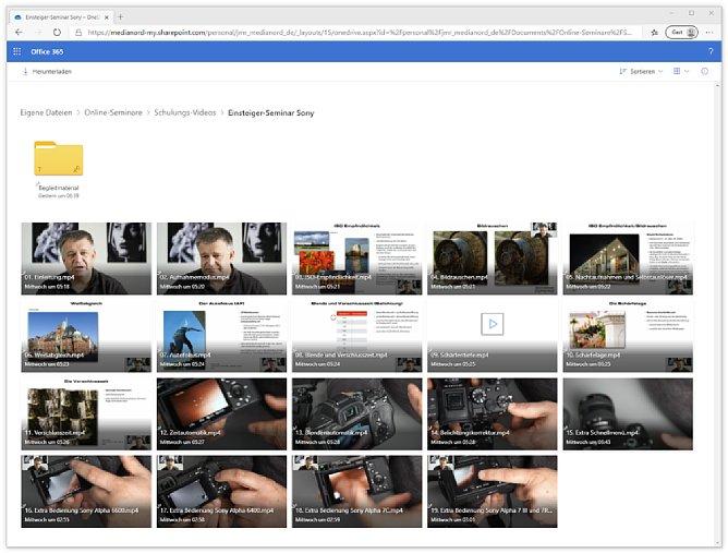 Bild Das Sony-Einsteigerseminar besteht aus 19 Einzelvideos und einem Ordner mit Begleitmaterial. [Foto: MediaNord]