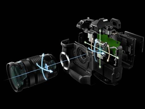 Bild Beim Sync-IS der Olympus OM-D E-M1X arbeiten der Sensor-Shift-Bildstabilisator der Kamera und der optische Bildstabilisator des Objektivs zusammen. Sagenhafte 7,5 Blendenstufen längere Belichtungszeiten sollen damit möglich sein. [Foto: Olympus]