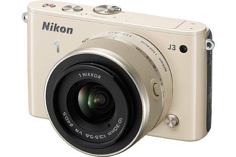 Bild Mit der Nikon 1 J3 bekam Anfang 2013 auch die J-Serie den 14-Megapixel-Sensor. Zudem gab es als neue Farbe ein edles Beige. Schrille Farben wie Pink oder Orange gab es nicht mehr, weiterhin aber das Weinrot. [Foto: Nikon]