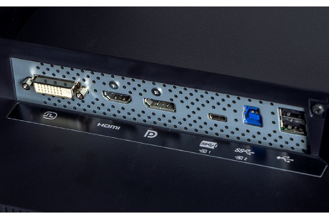 Bild Die Schnittstellen des ColorEdge CS2731 sind zwar deutlich beschriftet, dennoch ist es sinnvoll, beim Anschluss den Monitor etwas zu drehen, was dank Pivotfunktion kein Problem ist. [Foto: MediaNord]