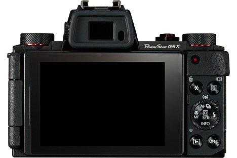 Bild Der dreh- und schwenkbare Touchscreen lässt sich zum Schutz der Bildschirmoberfläche auch umgedreht an dieCanon PowerShot G5 X klappen. [Foto: Canon]