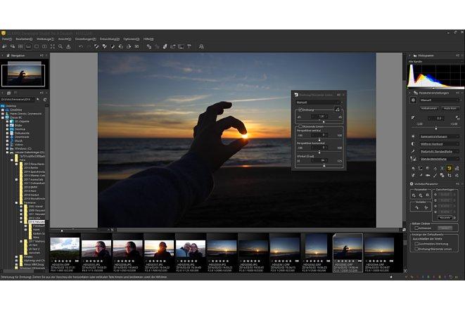 """Bild Um das Tool zu aktiveren, das mit einer Bewegung der Maus den Horizont begradigt, muss im Werkzeugmenü auf das nicht als solches erkennbare Icon neben """"Drehung"""" geklickt werden. [Foto: MediaNord]"""