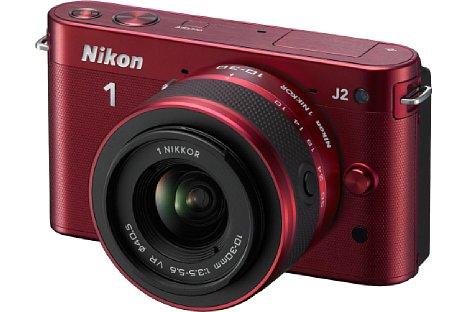 Bild Das Rot der Nikon 1 J2 wurde zu einem dezenten Weinrot. [Foto: Nikon]