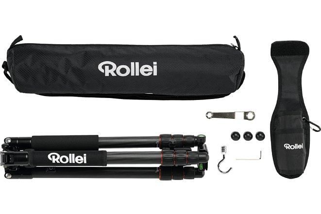 Bild Zum Lieferumfang des Rollei C5i Lieferumfang gehört eine Tasche, ein Werkzeug, Ersatzgummifüsse sowie eine Gürtelhalterung und einen Taschenhaken zum einschrauben. [Foto: Rollei]
