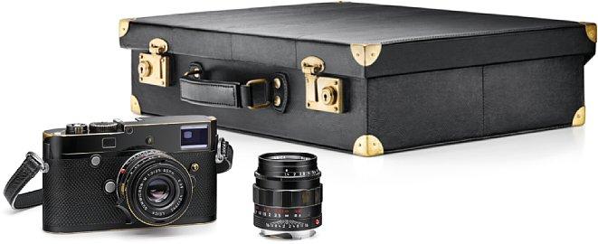 Bild Das Leica M-P Set Correspondent by Lenny Kravitz enthält neben der M-P, dem Koffer, einem Trageriemen sowie einer Handschlaufe die beiden ObjektiveSummicron-M 1:2/35 mm Asph. und Lummilux-M 1:1,4/50 mm Asph. [Foto: Leica]
