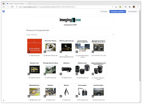Bild Die Panasonic-Schulungsvideos werden über den Cloud-Dienst Dropbox zum Anschauen und Herunterladen angeboten; Dropbox bietet auch eine schnelle Download-Möglichkeit mit einem Klick direkt aus der E-Mail mit den Zugangsdaten. [Foto: MediaNord]