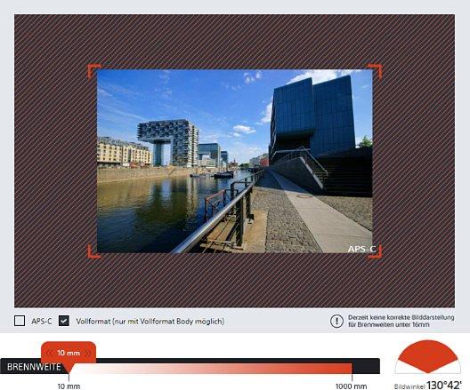 Bild Anstelle eines korrekten Fotos gibt es bei der geringsten Brennweite nur einen schraffierten Bereich, den das Objektiv theoretisch abdeckt. Die vier roten Ecken im Bild zeigen den APS-C-Ausschnitt. [Foto: MediaNord]