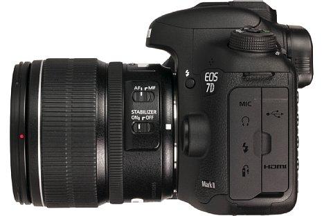 Bild Das reichhaltig bestückte Anschlussterminal an der linken Seite der Kamera wird von zwei dicht schließenden Gummiklappen geschützt. [Foto: MediaNord]